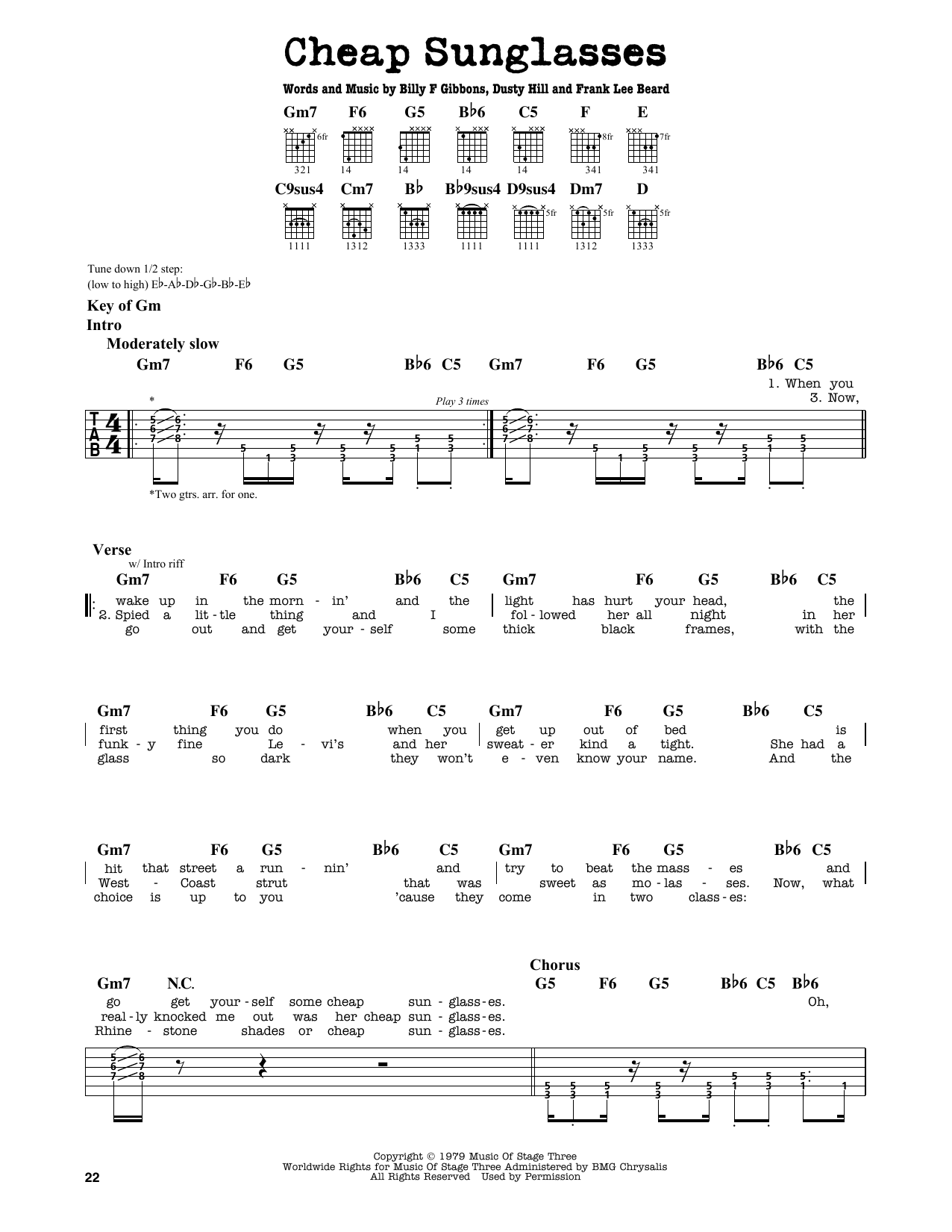 Partition autre Cheap Sunglasses de ZZ Top - Tablature Guitare Lead