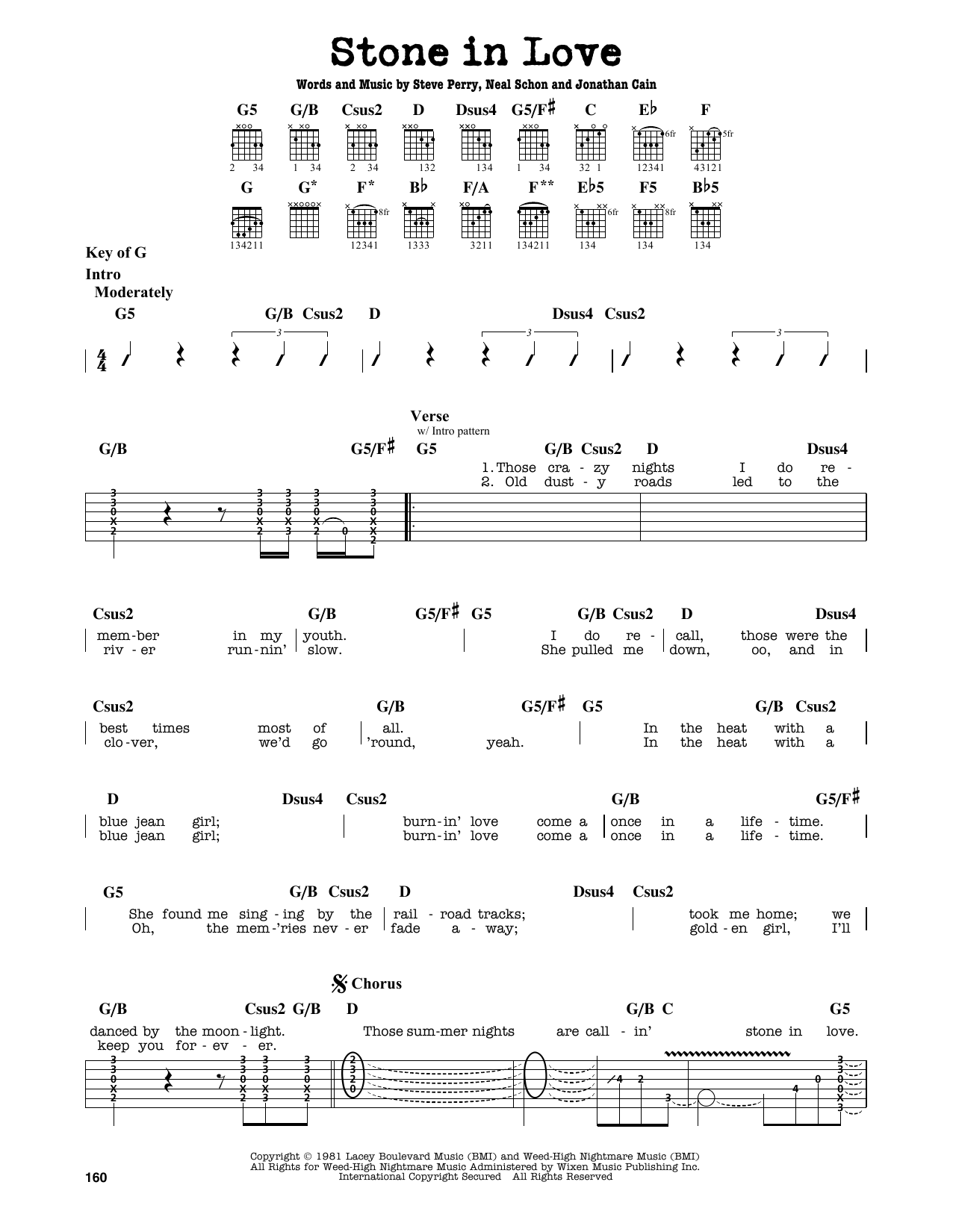 Partition autre Stone In Love de Journey - Tablature Guitare Lead