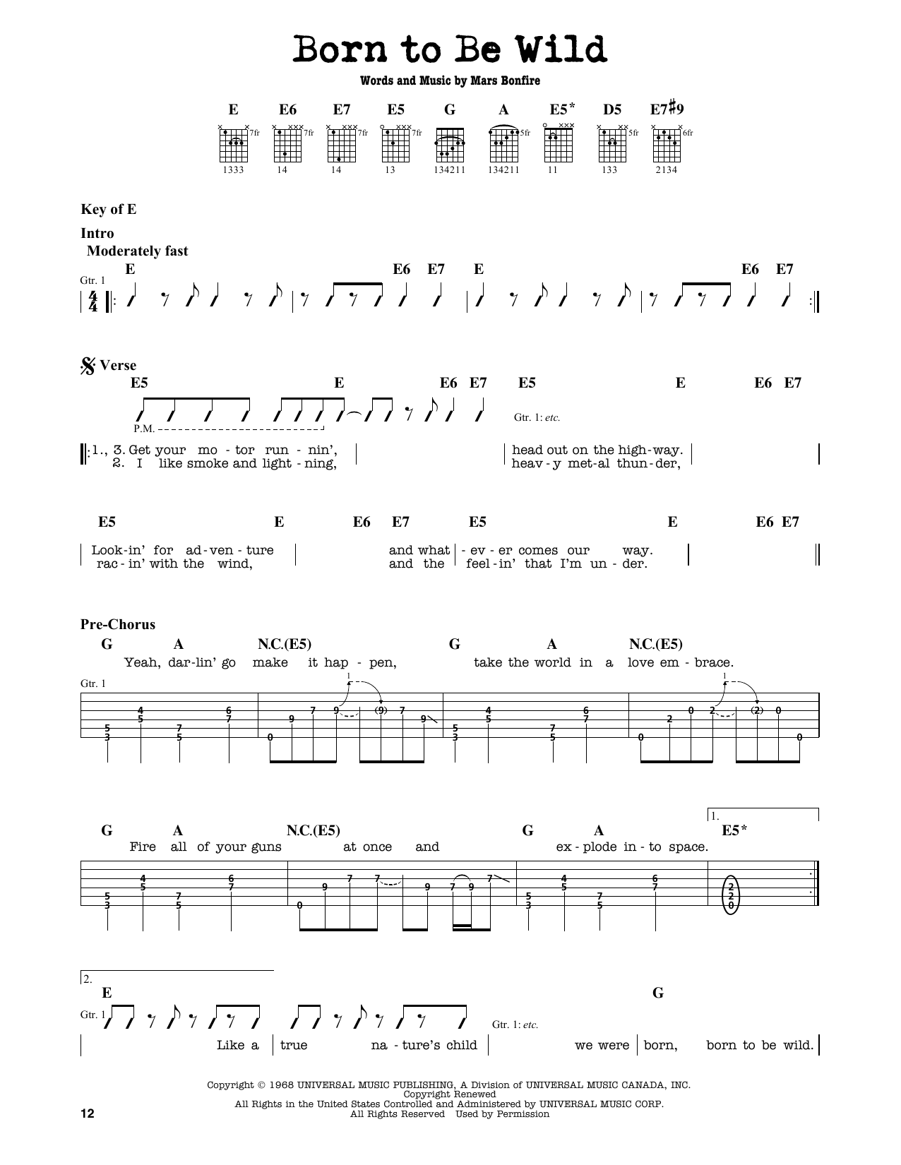 Born To Be Wild Sheet Music
