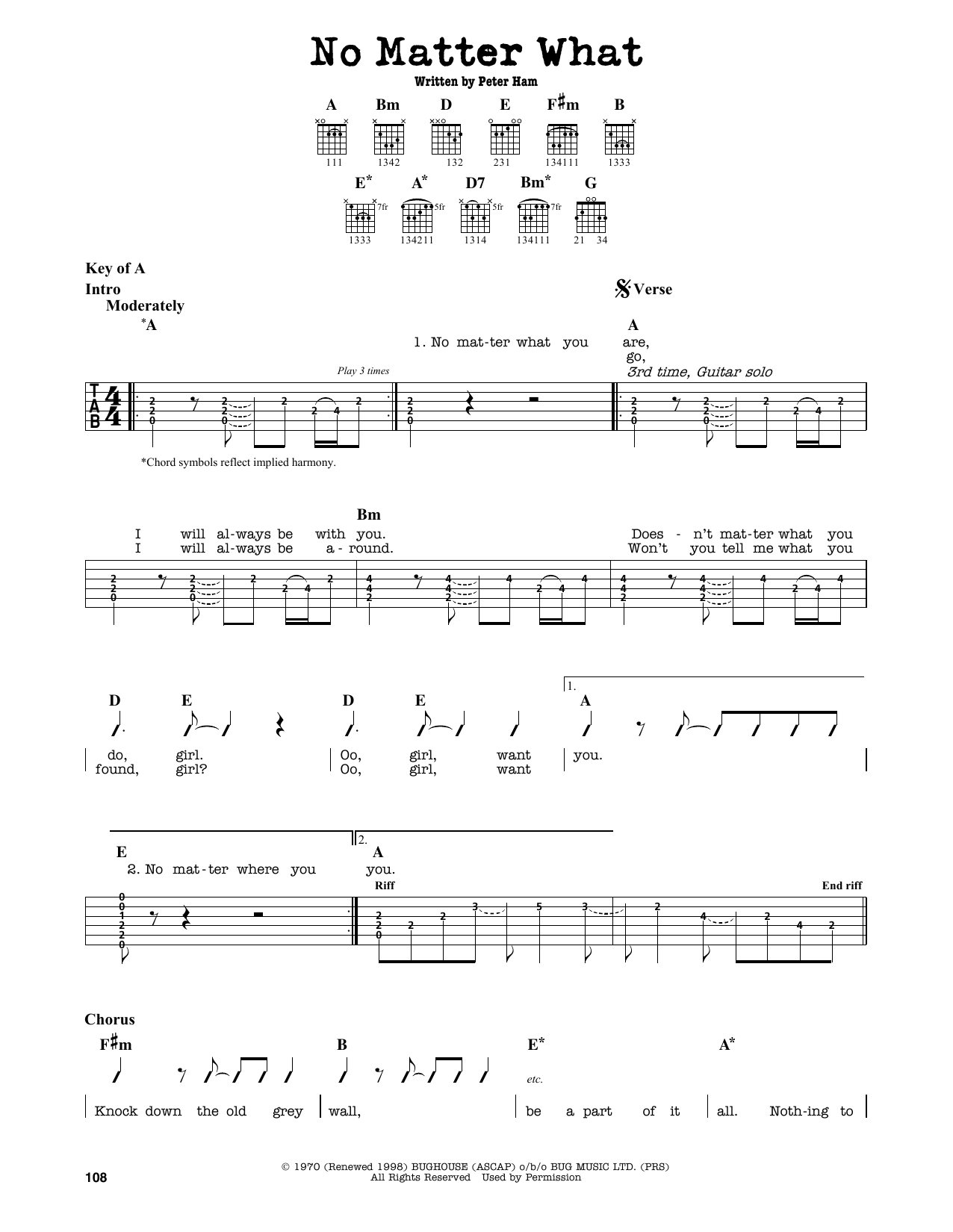 Partition autre No Matter What de Badfinger - Tablature Guitare Lead