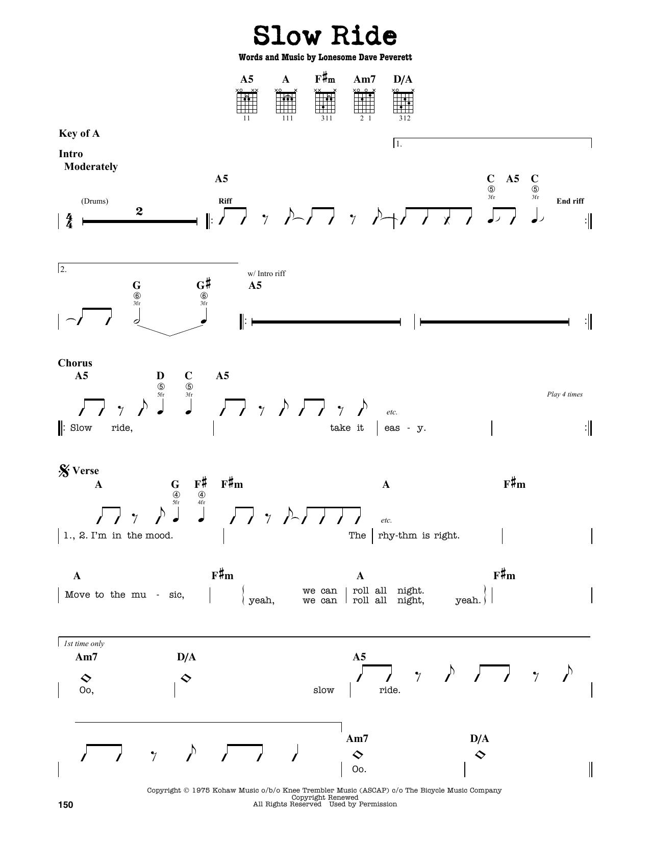 Slow Ride Sheet Music Foghat Guitar Lead Sheet