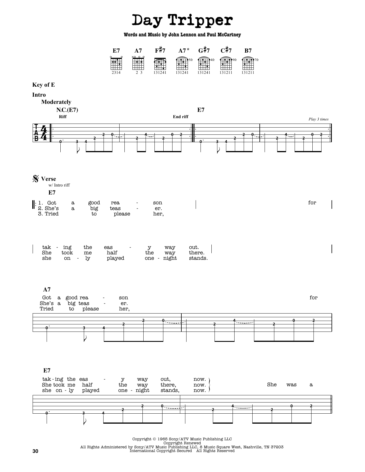 Partition autre Day Tripper de The Beatles - Tablature Guitare Lead
