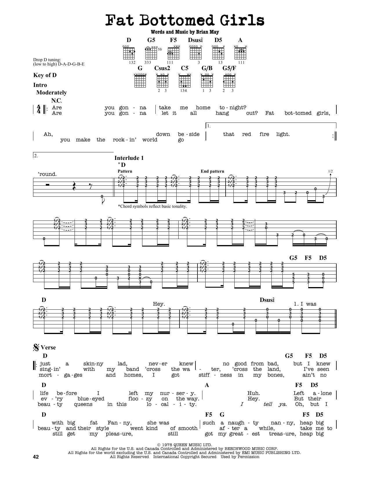 Fat Bottomed Girls (Guitar Lead Sheet)