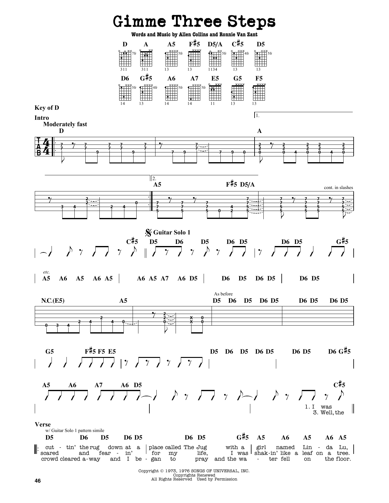 Partition autre Gimme Three Steps de Lynyrd Skynyrd - Tablature Guitare Lead