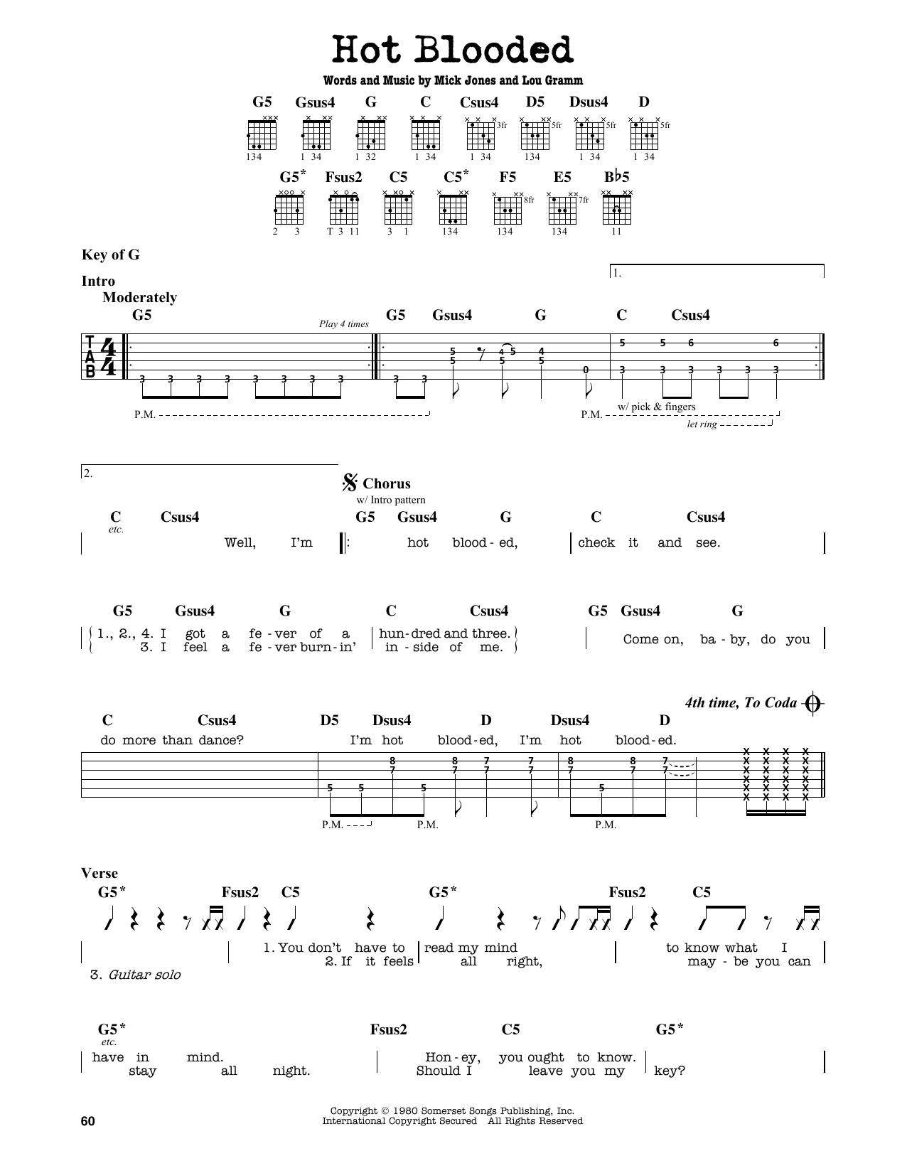 Hot Blooded Sheet Music