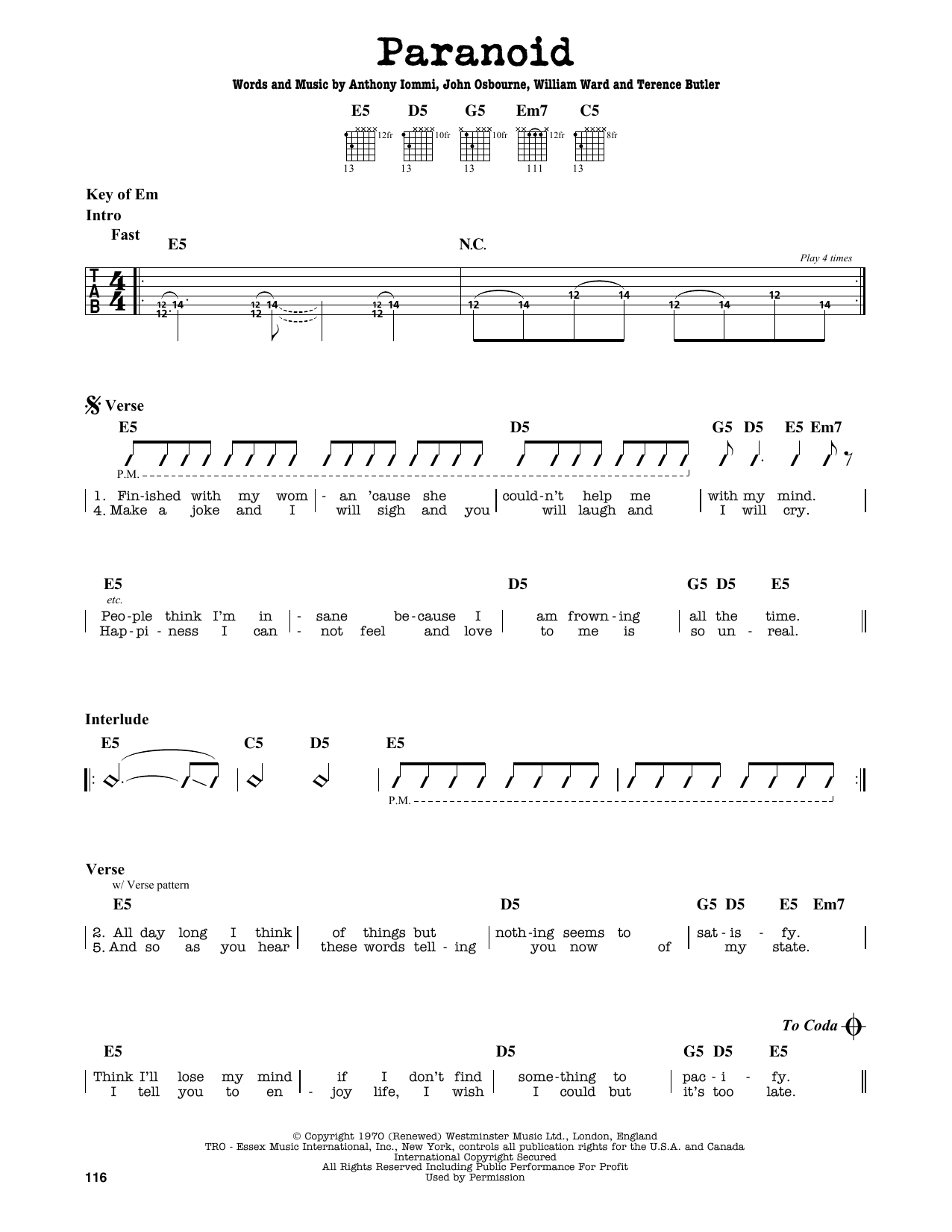 Partition autre Paranoid de Black Sabbath - Tablature Guitare Lead
