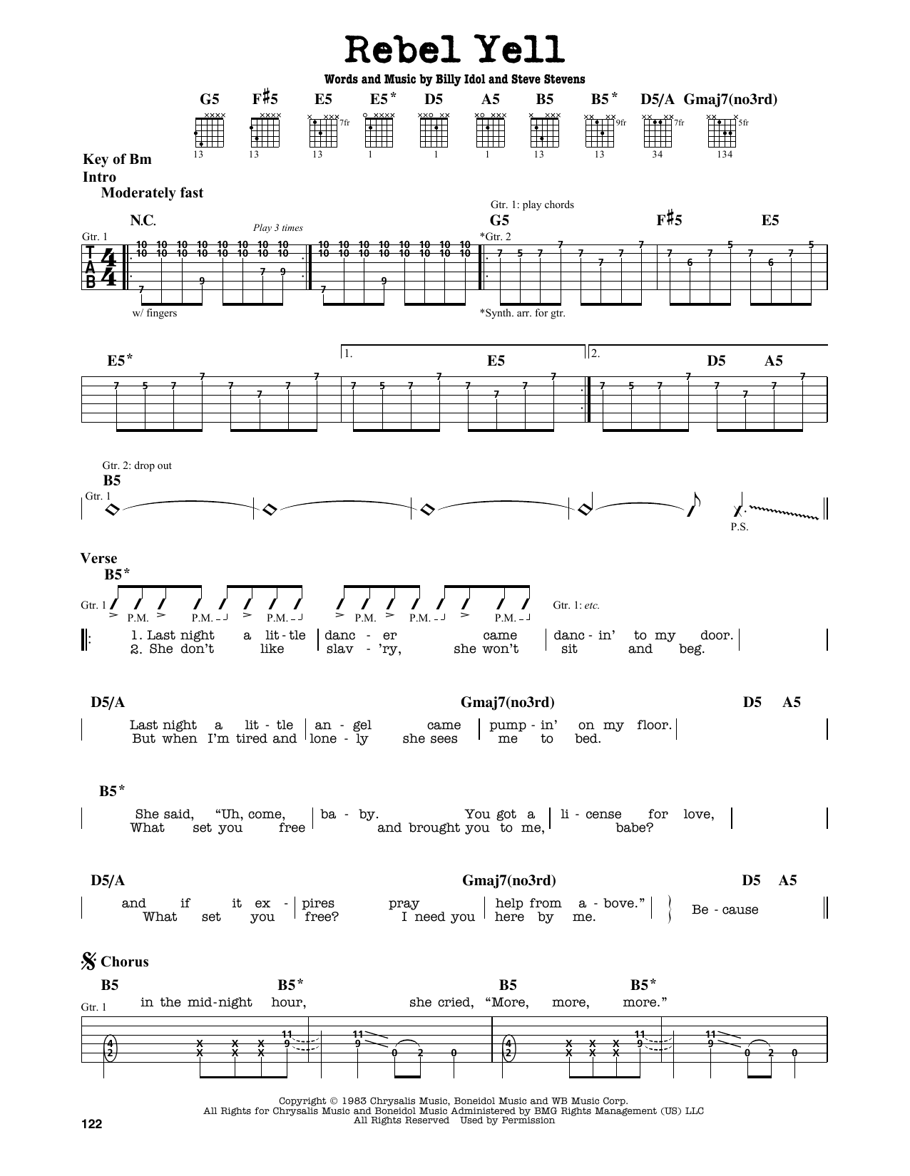 Partition autre Rebel Yell de Billy Idol - Tablature Guitare Lead