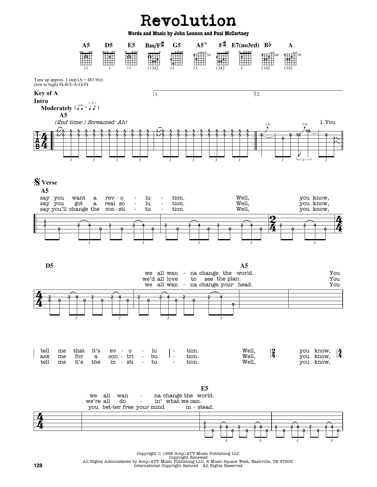 Partition autre Revolution de The Beatles - Tablature Guitare Lead