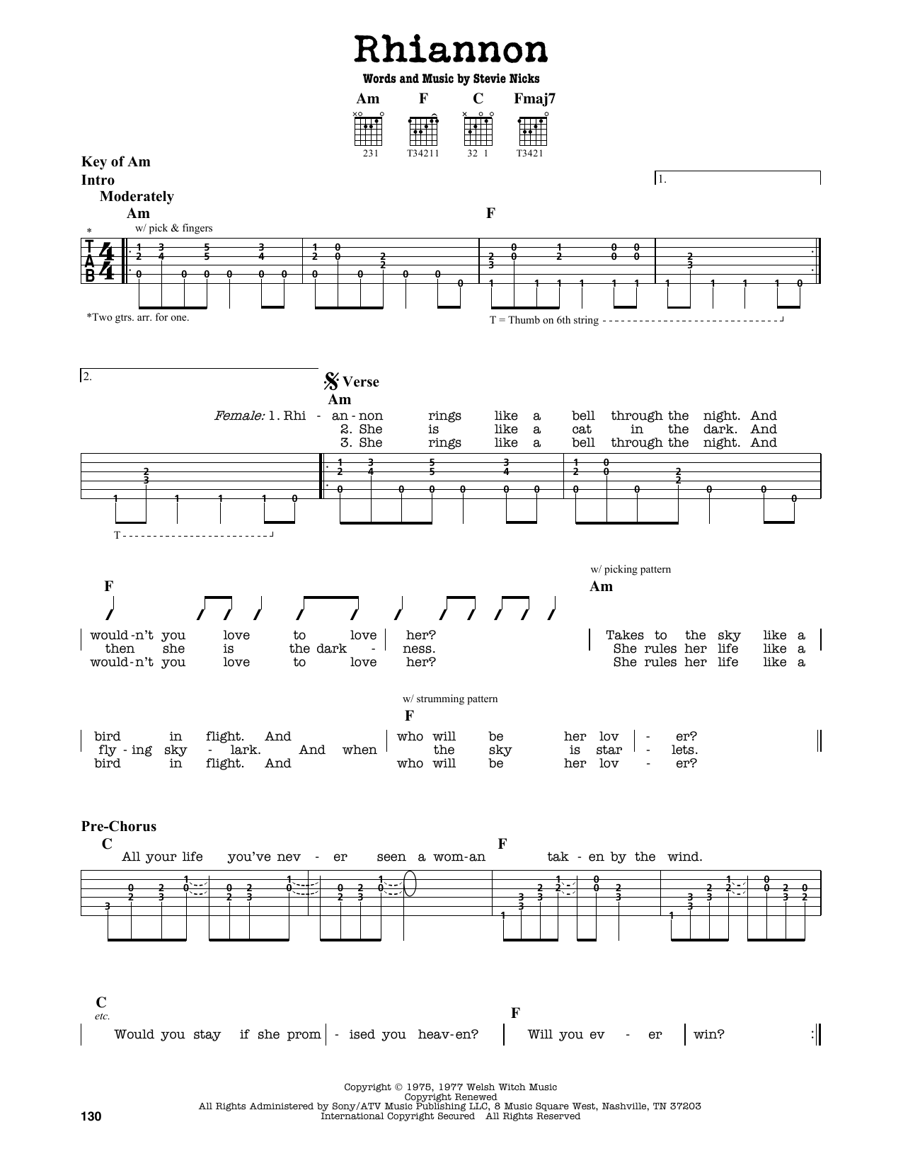 Rhiannon (Guitar Lead Sheet)