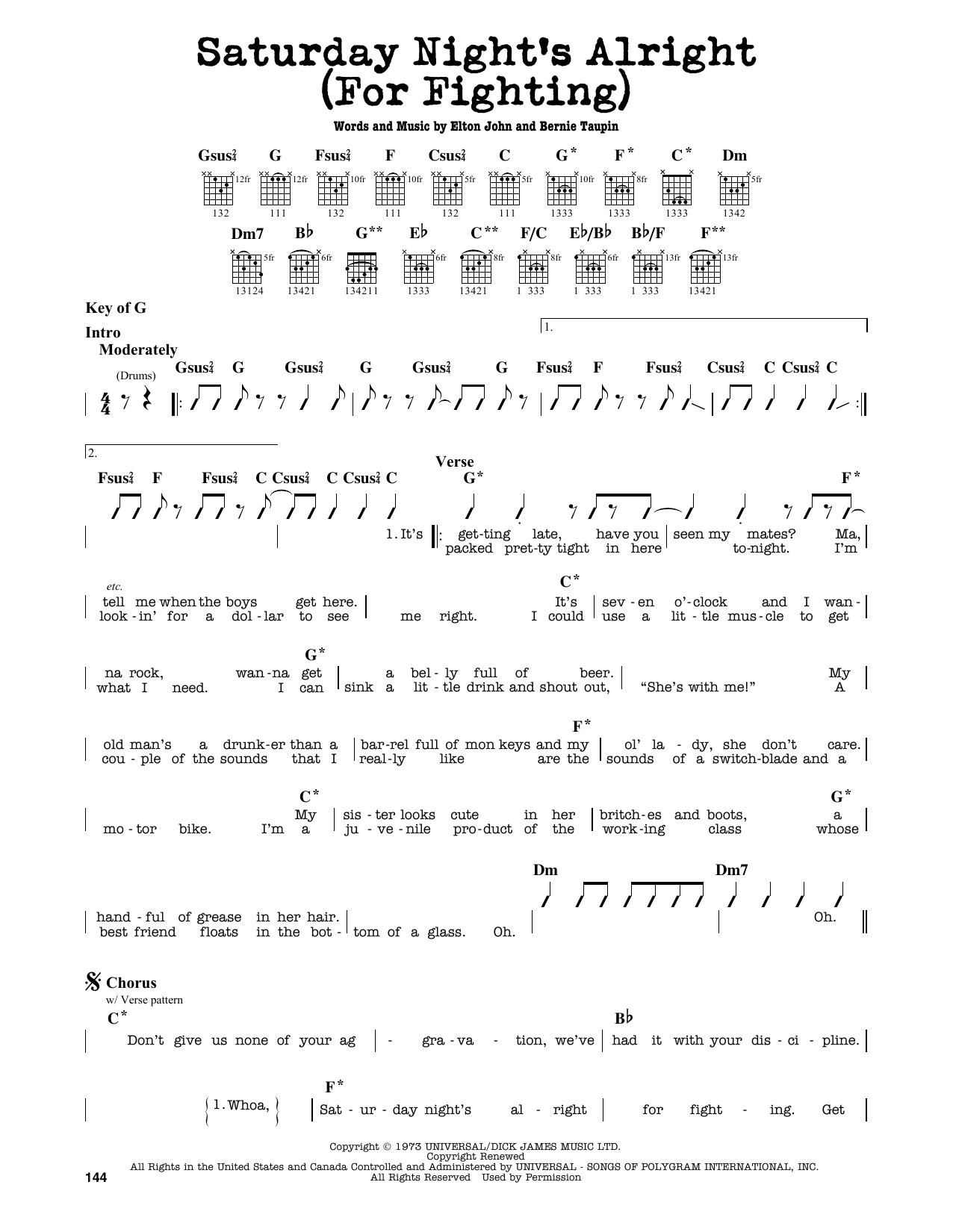 Partition autre Saturday Night's Alright (For Fighting) de Elton John - Tablature Guitare Lead