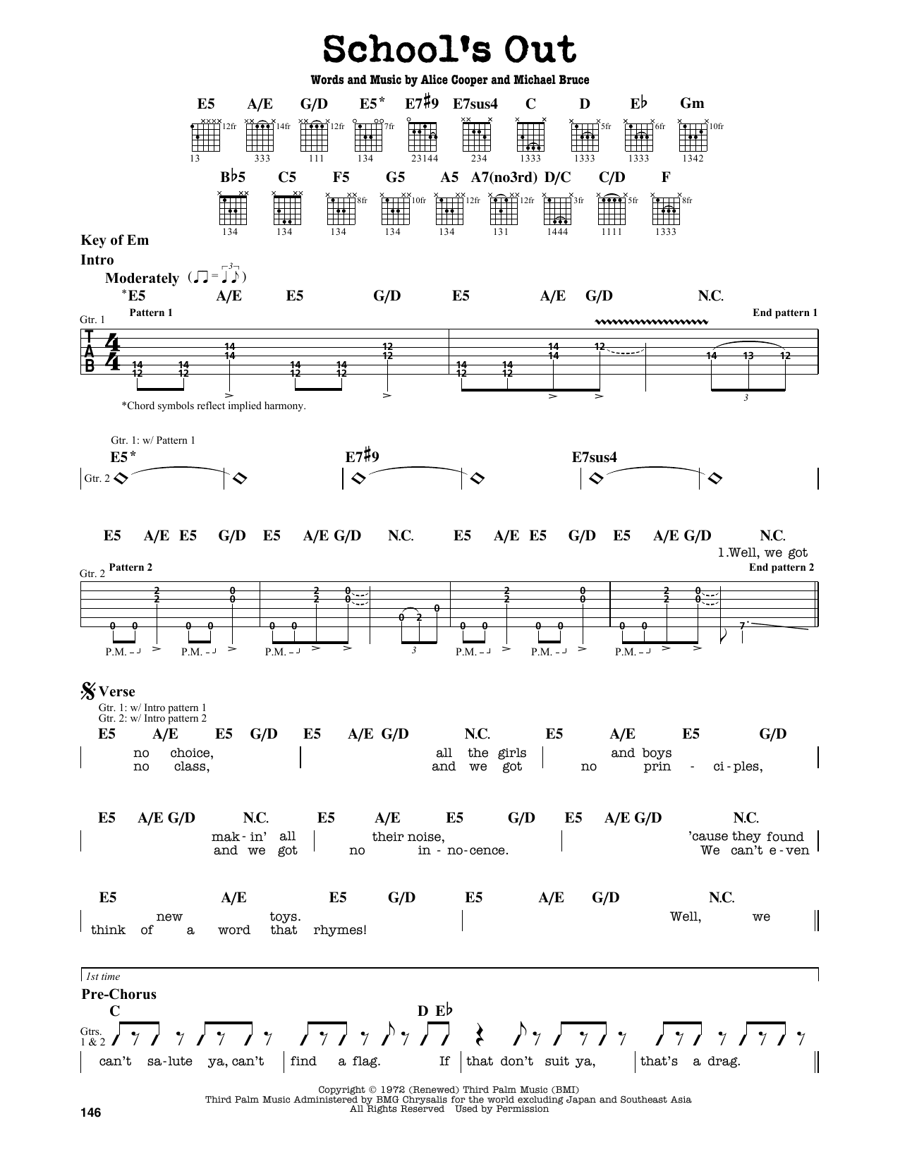 Partition autre School's Out de Alice Cooper - Tablature Guitare Lead