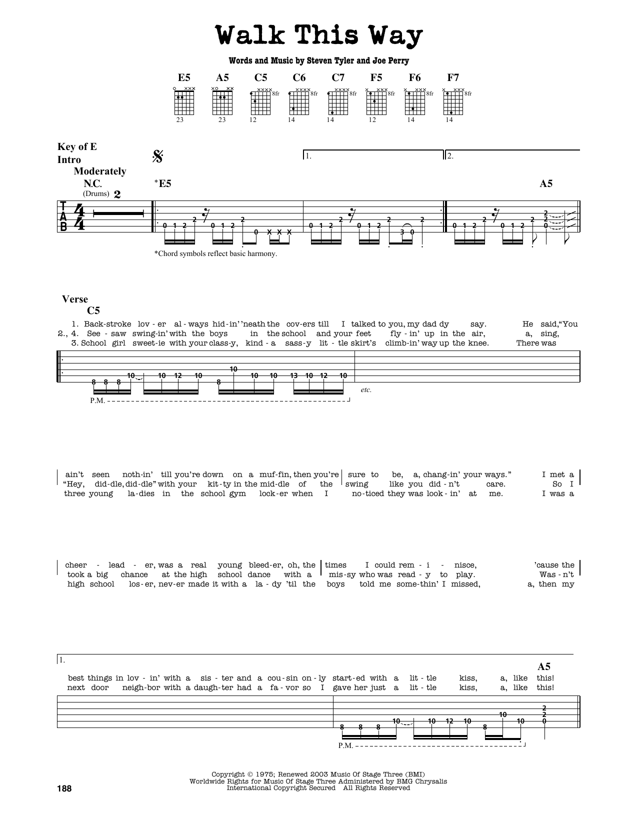 Walk This Way Sheet Music