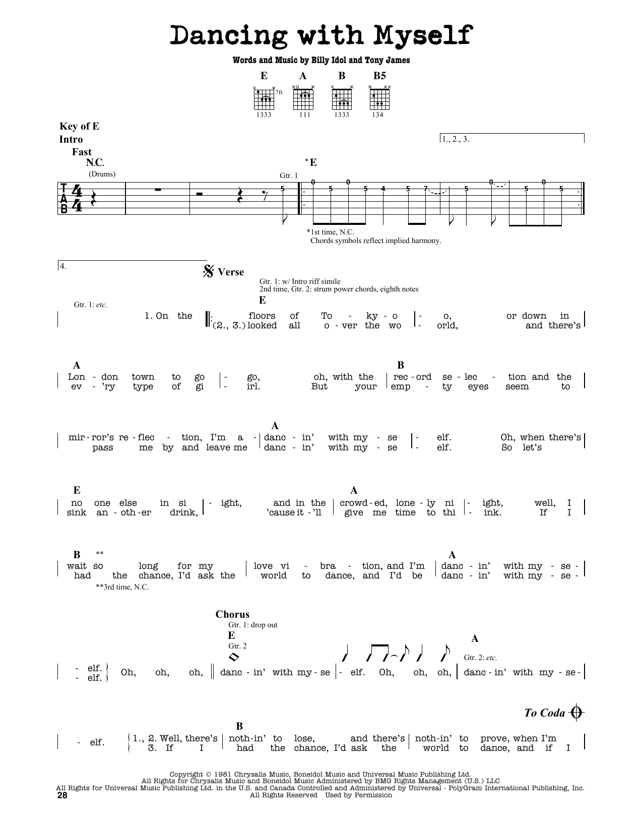 Dancing With Myself (Guitar Lead Sheet)
