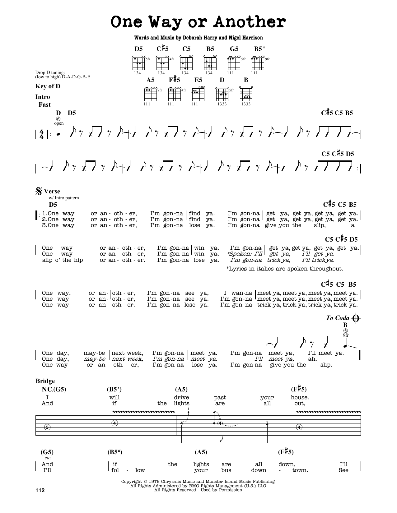Partition autre One Way Or Another de Blondie - Tablature Guitare Lead