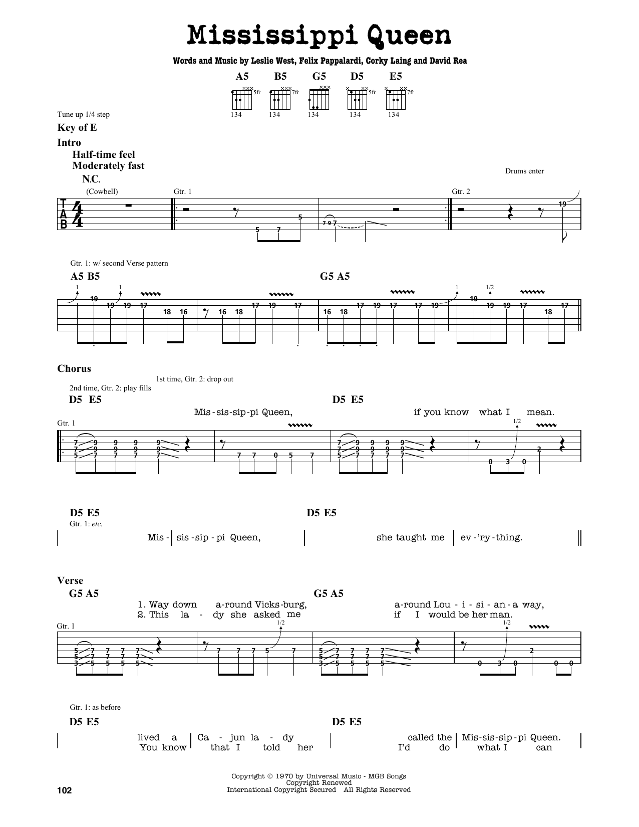 Partition autre Mississippi Queen de Mountain - Tablature Guitare Lead