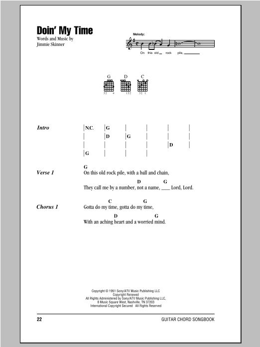 Doin' My Time (Guitar Chords/Lyrics)