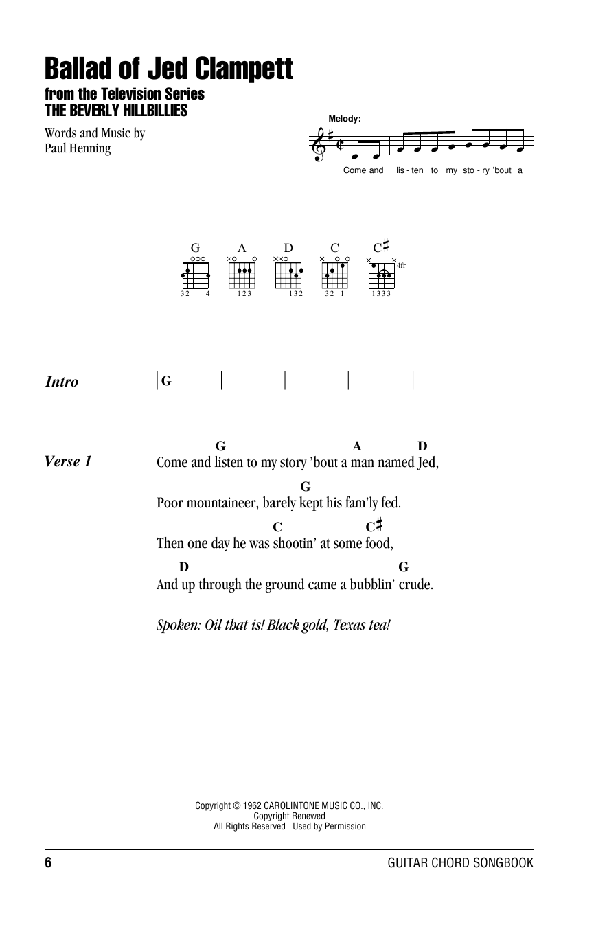 Ballad Of Jed Clampett (from The Beverly Hillbillies) (Guitar Chords/Lyrics)