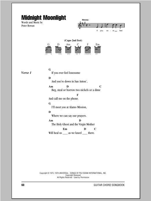 Midnight Moonlight by Peter Rowan - Guitar Chords/Lyrics - Guitar ...