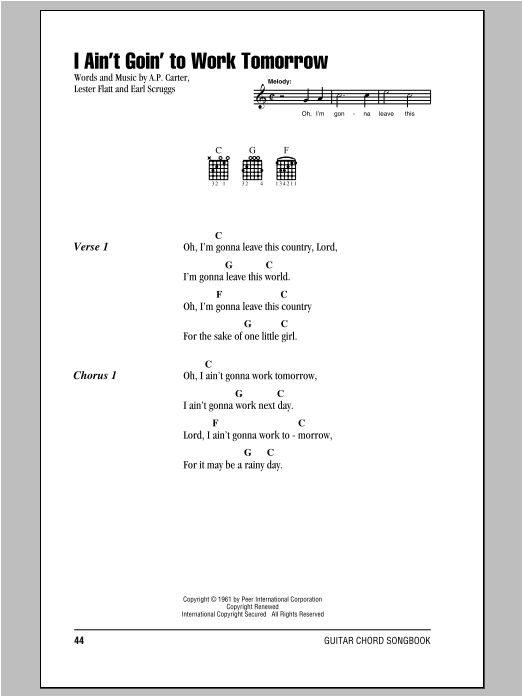 I Ain't Goin' To Work Tomorrow Sheet Music