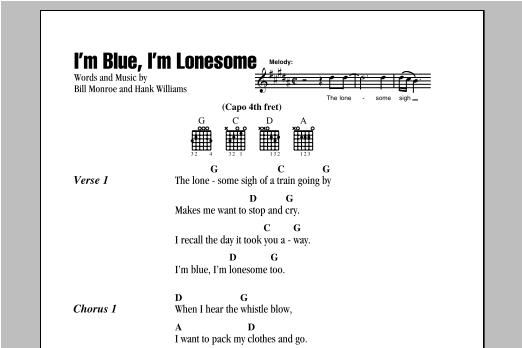 I'm Blue, I'm Lonesome (Guitar Chords/Lyrics)