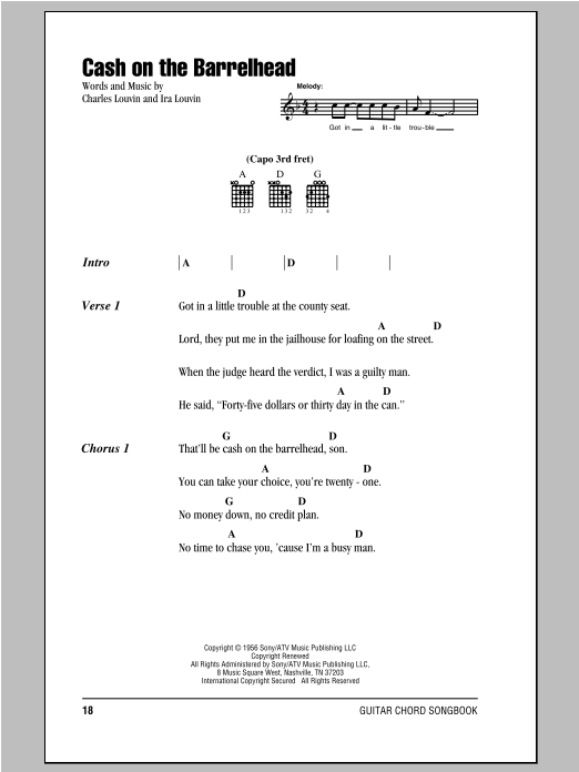 Cash On The Barrelhead (Guitar Chords/Lyrics)