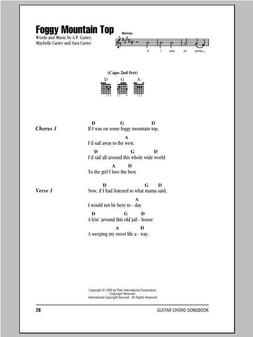Foggy Mountain Top by The Carter Family - Guitar Chords/Lyrics ...