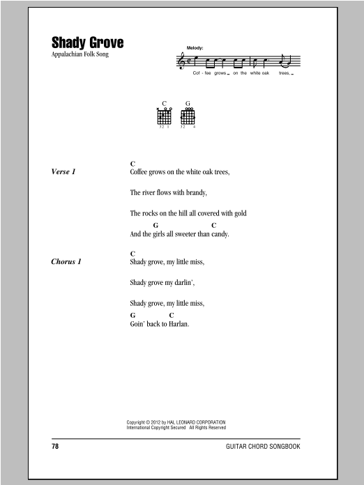 Shady Grove Sheet Music