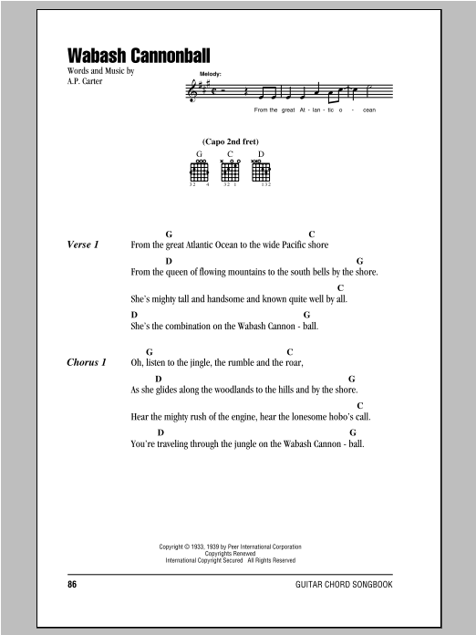 Wabash Cannonball (Guitar Chords/Lyrics)