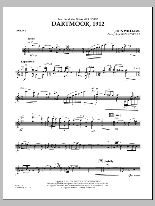 Dartmoor, 1912 (from War Horse) - Violin 1 Sheet Music