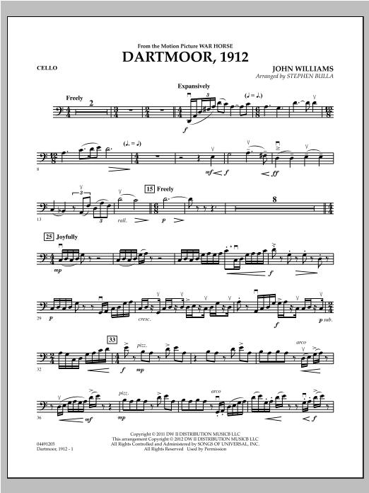 Dartmoor, 1912 (from War Horse) - Cello Sheet Music