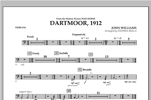 Dartmoor, 1912 (from War Horse) - Timpani Sheet Music