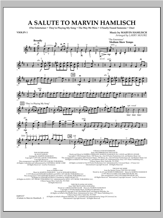 A Salute To Marvin Hamlisch - Violin 1 Sheet Music