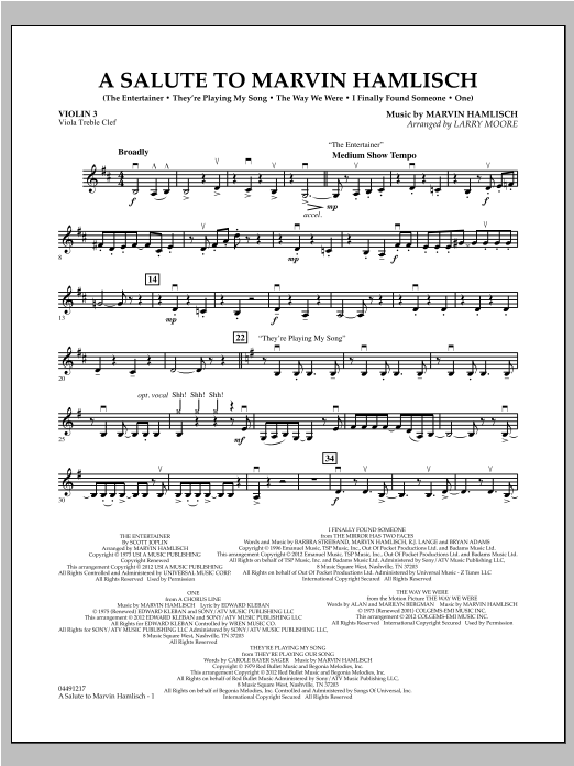 A Salute To Marvin Hamlisch - Violin 3 (Viola Treble Clef) Sheet Music