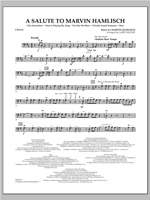 A Salute To Marvin Hamlisch - Cello Sheet Music