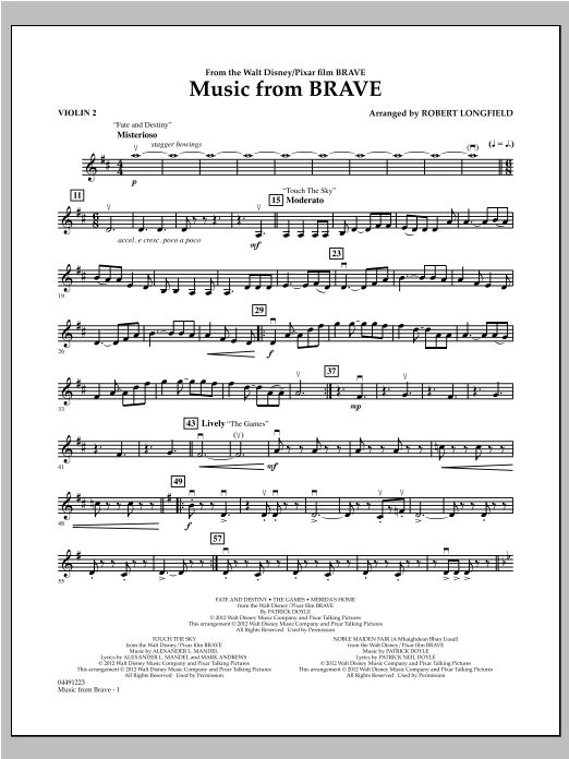 Music From Brave - Violin 2 Sheet Music