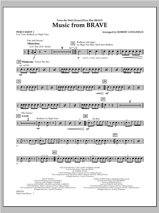 Music From Brave - Percussion 1 Sheet Music