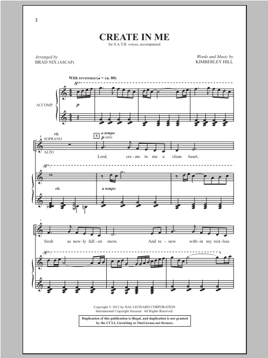 Create In Me Sheet Music