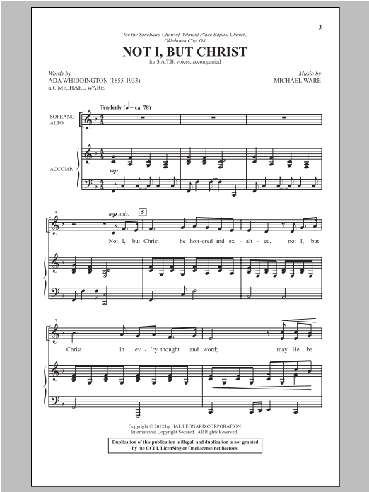 Not I, But Christ (SATB Choir)