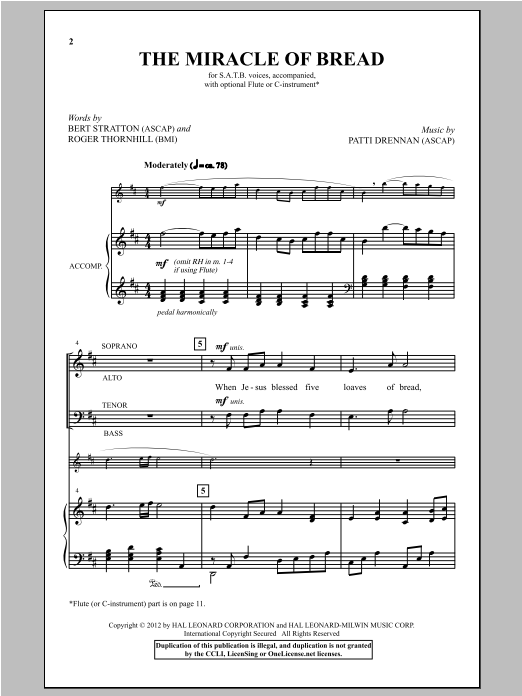 Partition chorale The Miracle Of Bread de Patti Drennan - SATB