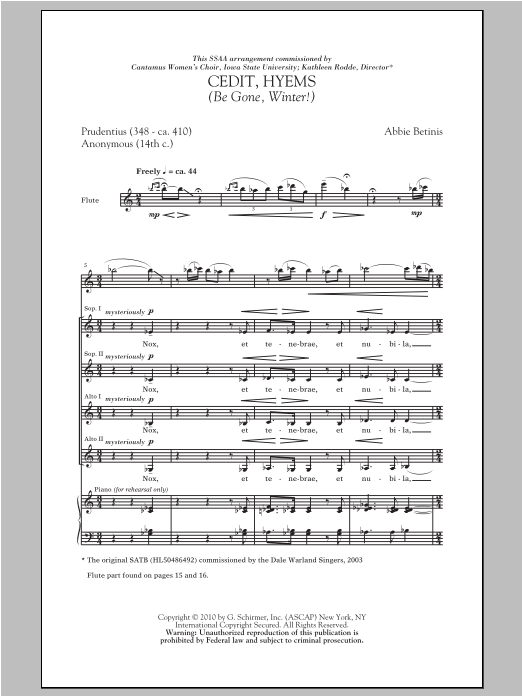 Cedit, Hyems (Be Gone, Winter!) Sheet Music