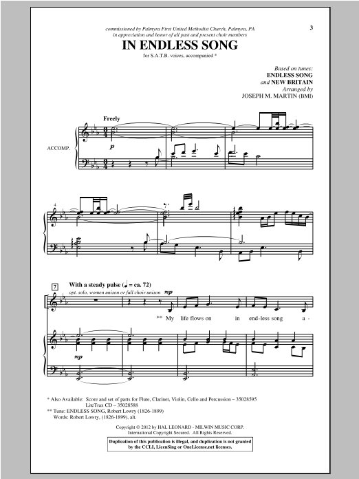 In Endless Song Sheet Music