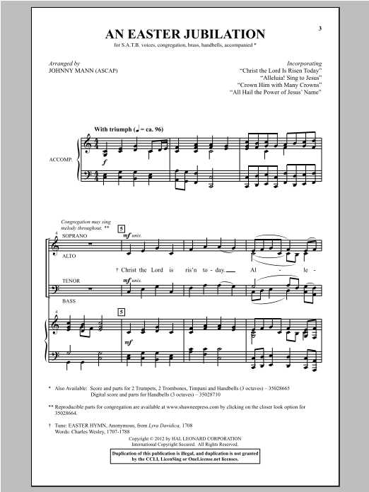 Partition chorale All Hail The Power Of Jesus' Name de Johnny Mann - SATB