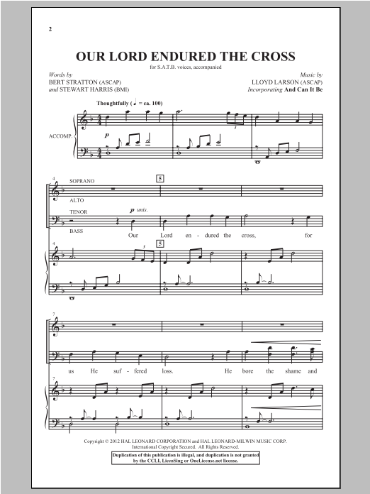 Partition chorale Our Lord Endured The Cross de Lloyd Larson - SATB