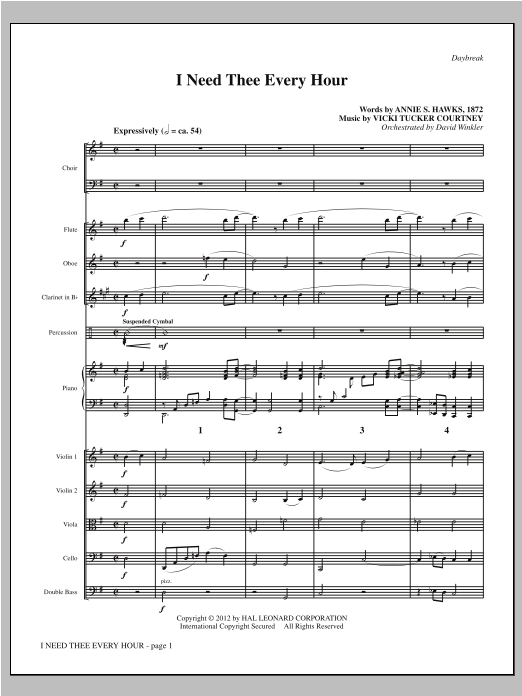 I Need Thee Every Hour (complete set of parts) sheet music for orchestra/band by Vicki Tucker Courtney and Annie S. Hawks. Score Image Preview.