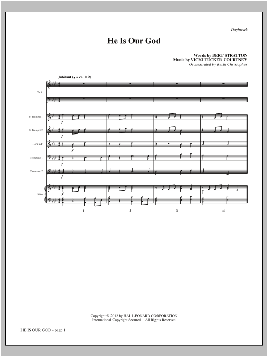 He Is Our God (complete set of parts) sheet music for orchestra/band (Brass) by Vicki Tucker Courtney and Bert Stratton. Score Image Preview.
