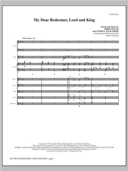 My Dear Redeemer, Lord And King (complete set of parts) sheet music for orchestra/band (Strings) by Robert Sterling and Lowell Alexander. Score Image Preview.