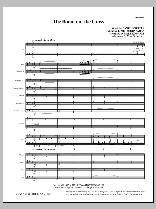 The Banner Of The Cross (complete set of parts) sheet music for orchestra/band (Orchestra) by Mark Edwards and James McGranahan. Score Image Preview.