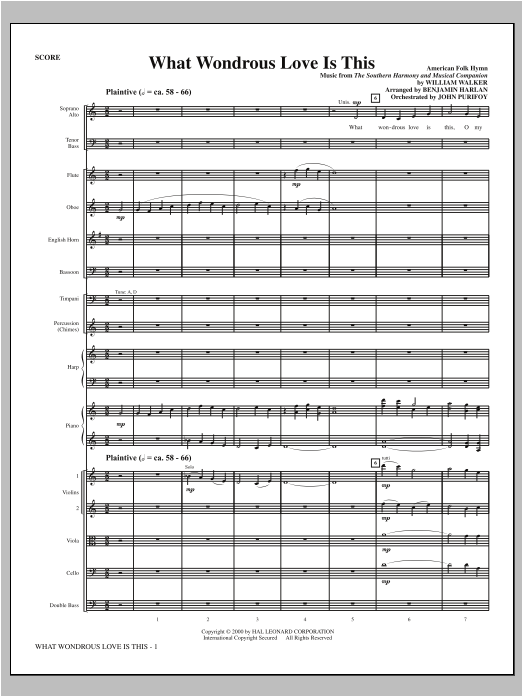 What Wondrous Love Is This (see Bonustrax 00102360) (complete set of parts) sheet music for orchestra/band (Orchestra) by Benjamin Harlan and Miscellaneous. Score Image Preview.