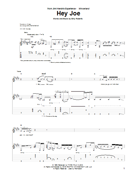 Hey Joe (Guitar Tab)