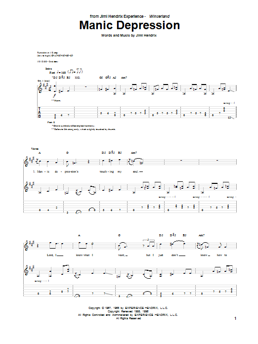 Manic Depression Sheet Music
